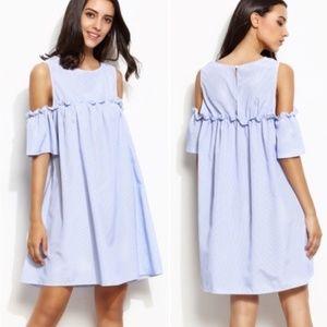 Dresses & Skirts - NWOT Blue Poplin Cold Shoulder Ruffle Dress
